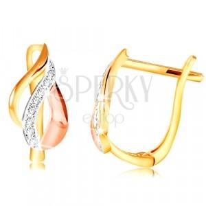 14K Gold Ohrringe - Blatt aus Bogen in drei Farbtönen aus Gold, klare Zirkone