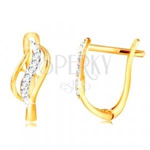 14K Gold Ohrringe - zweifarbige Blume mit einer Linie aus klaren Zirkonen