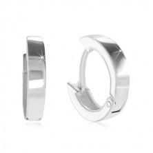 925 Silber Creolen mit Klappverschluss - kleine Kreise, glänzende und glatte Oberfläche