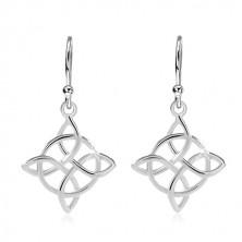 925 Silber Ohrringe, Kreis mit einem keltischen Knoten verflochten, Haken