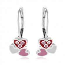 925 Silber Ohrringe, drei rosa und weiße glasierte Herzen
