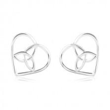 925 Silber Ohrringe, dünner Herzumriss mit keltischem Knoten in der Mitte