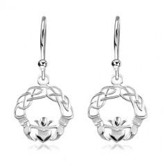925 Silber Ohrringe, verwickelte Linien, Hände und Herz mit Krone, Haken