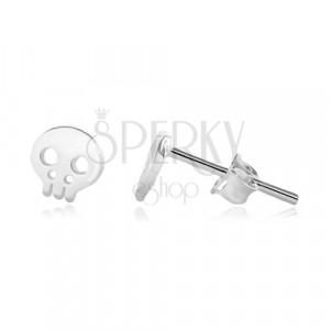 925 Silber Ohrringe - glänzender Schädel mit Ausschnitten, Ohrsteckerverschluss