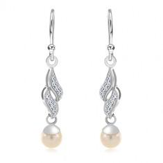925 Silber Ohrringe, zwei Zirkon Wellen, weiße runde Perle