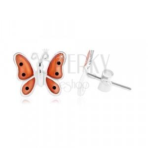 925 Silber Ohrringe, Schmetterling mit orange glasierten Flügeln