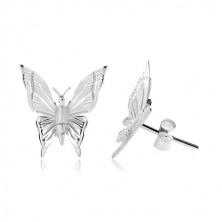 925 Silber Ohrringe, Schmetterling mit eingravierten Einschnitten auf den Flügeln