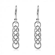 925 Silber Ohrringe, länglicher keltischer Knoten mit schwarzer Linie, Haken