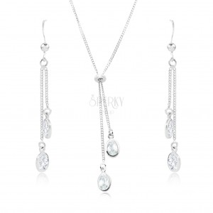 925 Silber Set - Halskette und Ohrringe, klare Zirkon Ovale an Ketten