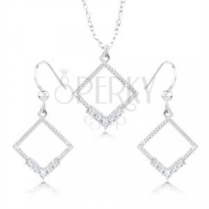 Schmuckset Ohrringe und Halskette - 925 Silber, Rhombus-Umriss, klare Zirkone, Einschnitte