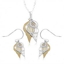 925 Silber Set, Doppelmuschel in silbernem und goldenem Farbton