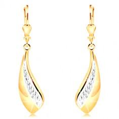 14K Gold Ohrringe - großer gebogener Tropfen, Streifen aus Weißgold und Einschnitte