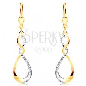 Ohrringe aus kombiniertem 14K Gold - glitzernde zweifarbige Schleife