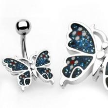 Bauchnabelpiercing - Schmetterling, Blumen