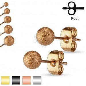 Ohrringe aus 316L Stahl, glitzernde sandgestrahlte Kugel, 3 mm
