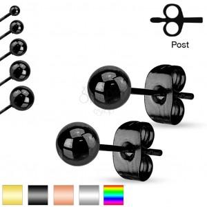 Stahl Ohrringe, Kugel mit glänzender glatter Oberfläche, 6 mm
