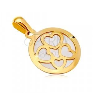 Anhänger aus 585 Gelbgold - Kreis mit weißem Perlmutt ausgefüllt, vier Herzumrisse