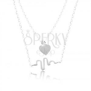 925 Silber Halskette, Doppelkette, Herz und Welle