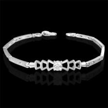 Zartes Armband für Damen - Zirkonia, Flechtmuster, Glieder mit Rauten