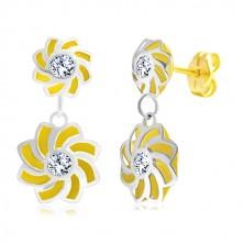Ohrringe aus 14K Gold - zweifarbige Blumen mit gebogenen Blütenblättern und Zirkon