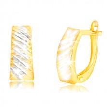 Ohrringe aus 14K Gold - Bogen mit schrägen zweifarbigen Einschnitten