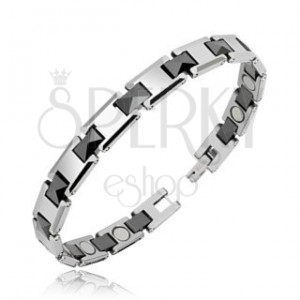 Armband aus Wolfram, rechteckige Glieder mit schwarzen Balken und Magneten
