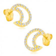 Ohrringe aus 14K Gelbgold - Kontur der Mondsichel mit Zirkonen besetzt