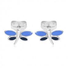 Ohrringe aus 14K Weißgold - Libelle mit blauer Glasur auf den Flügeln