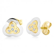 Ohrringe aus 14K Gold – dreiblättriges Kleeblatt in zwei Farben mit eingebetteten Zirkonen