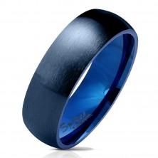 Stahl Ring in dunkelblauer Ausführung, matte and abgerundete Oberfläche, 6 mm
