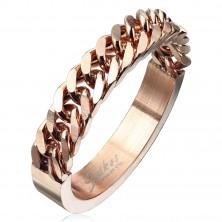 Edelstahl Ring in kupferner Farbe mit einem Kettenmuster, 4 mm