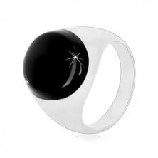 925 Silber Ring mit einer schwarzen ovalen Glasur und glänzender Ringschiene