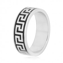 925 Silber Ring mit schwarzem griechischem Schlüssel Muster, 6 mm