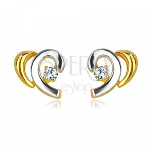 Ohrstecker aus kombiniertem 14K Gold - halbes Herz mit Zirkon