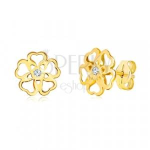 Ohrringe aus 585 Gelbgold - Blume mit geschnitzten Herzen, Zirkon