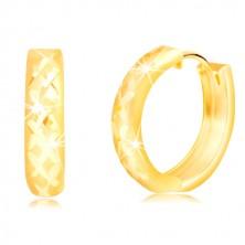 Ohrringe aus 14K Gelbgold - matter Kreis mit glänzendem Gitter