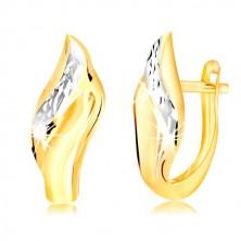 14K Gold Ohrringe - Blatt mit dekorativ geschliffener Linie aus Weißgold