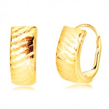 585 Gelbgold Ohrringe - Bogen mit schrägen Einschnitten, Damenverschluss
