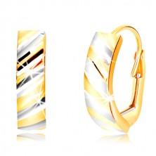 Kombinierte 585 Gold Ohrringe - Bogen mit geschliffenen schrägen Streifen