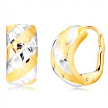 Kombinierte 14K Gold Ohrringe – breiterer Bogen mit Streifen und Gitter