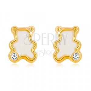Ohrringe aus 14K Gelbgold - Bär mit natürlichem Perlmutt und Zirkon