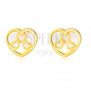 14K Gelbgold Ohrstecker – Herz mit natürlichem Perlmutt und Ausschnitte
