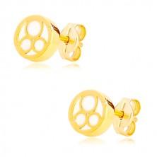 585 Gelbgold Ohrringe – Kreis mit natürlichem Perlmutt und drei Ringe