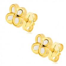 14K Gelbgold Ohrringe – Blume mit vier Blütenblättern und Perlmutt, Ohrstecker