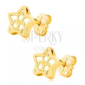 14K Gelbgold Ohrringe – Stern Kontur mit Muster aus Sternen und Perlmutt