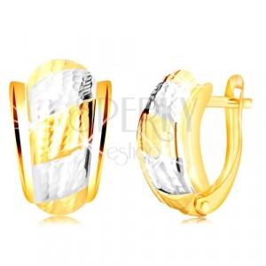 14K Gold Ohrringe - asymmetrischer Bogen mit Streifen und dekorativen Einschnitten