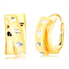 585 Gold Ohrringe - matter Bogen in Form eines Halbkreises, Weißgold Körner