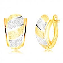 Glitzernde 585 Gold Ohrringe – asymmetrischer Bogen, Streifen, sandgestrahlte Oberfläche