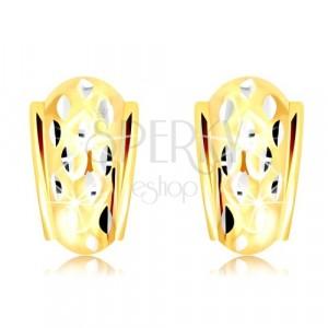 14K Gold Ohrringe - atypischer Bogen mit kleinen Körnern aus Weißgold verziert
