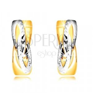 585 Ohrringe aus kombiniertem Gold - Ringe mit schrägem verflochtenem Muster